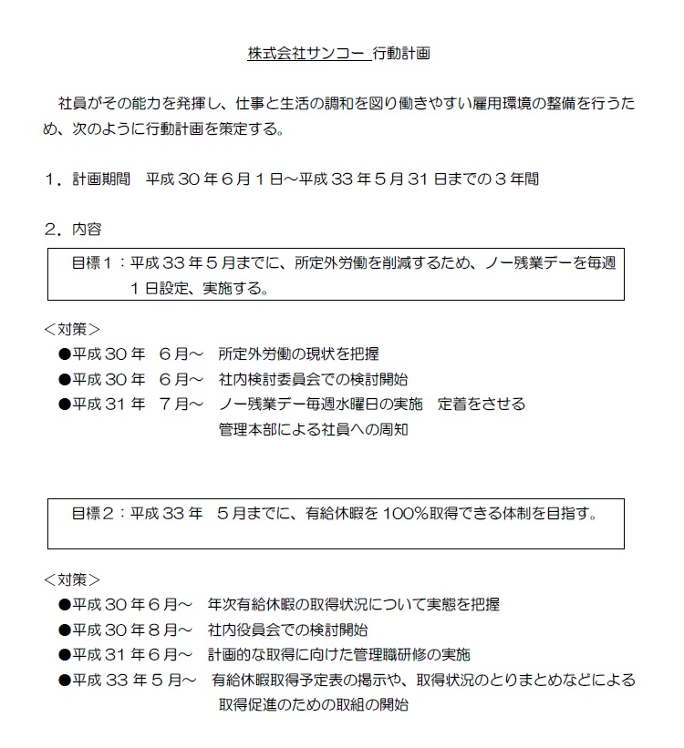 株式会社サンコー行動指針を掲載いたしました。